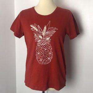 J Crew Burnt Orange Pineapple T-Shirt M